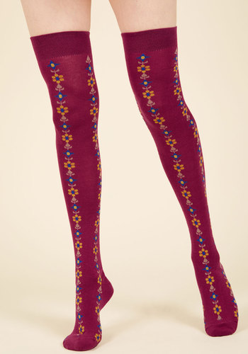 Vintage Inspired Lingerie Stems For Your Stems Thigh Highs in Berry $19.99 AT vintagedancer.com