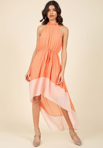 Befitting of Fame Maxi Dress in Peach - Orange, Pink, Coral, Solid, Belted, Special Occasion, Prom, Daytime Party, Graduation, Homecoming, Wedding Guest, Boho, Vintage Inspired, 70s, Luxe, Colorblocking, Maxi, Halter, Spring, Summer, Woven, Best, Exclusives, Halter, Mid-length, Store 1, Valentine's