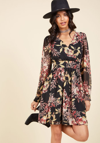 Cuisine Zine Floral Dress - Black, Red, Floral, Print, Work, Casual, Daytime Party, Boho, A-line, Long Sleeve, Fall, Winter, Woven, Better, Mid-length