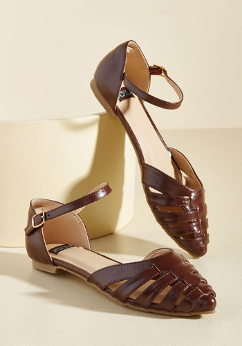 Vintage Style Sandals – 1930s, 1940s, 1950s, 1960s Journalist Jaunt Vegan Flat in Cocoa $34.99 AT vintagedancer.com