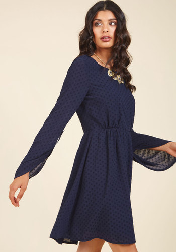 Nostalgic Inclination A-Line Dress - Blue, Houndstooth, Work, Casual, Boho, Americana, A-line, Long Sleeve, Spring, Summer, Fall, Winter, Woven, Better, Mid-length
