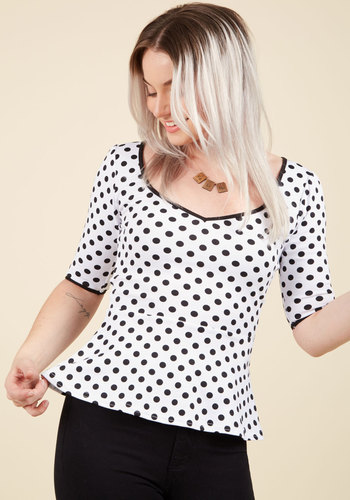 Giddy City Top in Polka Dots - White, Black, Polka Dots, Vintage Inspired, Peplum, 3/4 Sleeve, Sweetheart, Party, Rockabilly, Pinup, 40s, 50s, White, 3/4 Sleeve, Top Rated, Mid-length