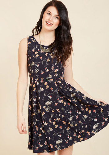 I Rest My Grace A-Line Dress in Navy Blooms - Multi, Blue, Floral, Print, Work, Casual, Daytime Party, Fit & Flare, Sleeveless, Fall, Woven, Better, Blue, Mid-length, Pleats, Best Seller, Best Seller