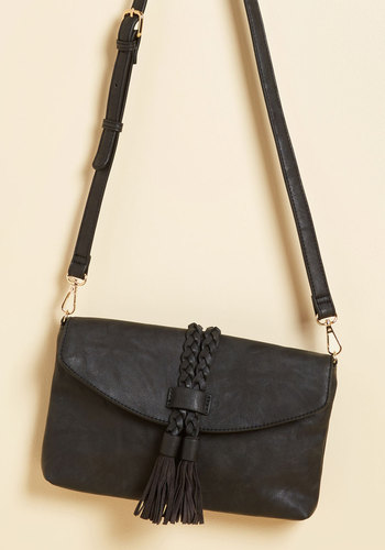 Weekday Relay Bag - Black, Solid, Tassels, Woven, Party, Work, Casual, Winter, Faux Leather, Good