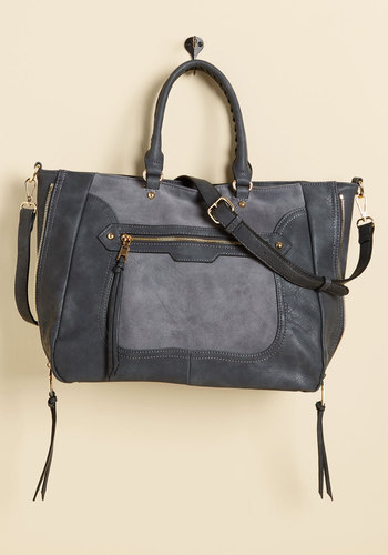 Tasks All Over Town Bag in Charcoal - Grey, Solid, Exposed zipper, Work, Casual, Winter, Faux Suede, Better, Leather, Best Seller, Best Seller, Gifts2015