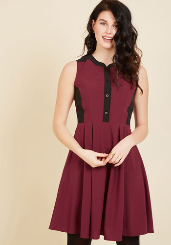 Business Over Bianco Shirt Dress in Maroon - Red, Black, Solid, Work, Casual, Colorblocking, A-line, Sleeveless, Fall, Winter, Woven, Better, Exclusives, Mid-length, Valentine's