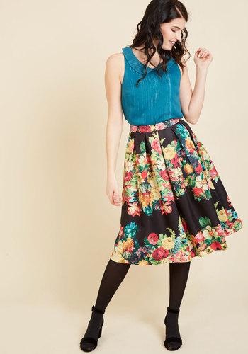 Retro Skirts: Vintage, Pencil, Circle, & Plus Sizes Bouquet of Beauty A-Line Skirt in Noir $69.99 AT vintagedancer.com