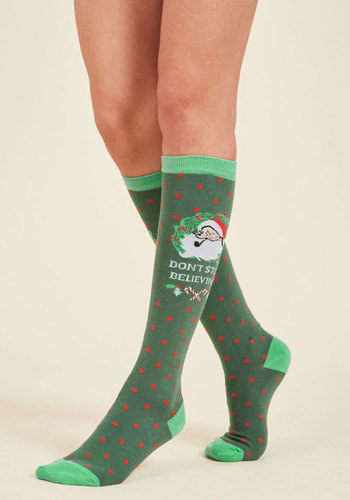 Took the Midnight Sleigh Socks - Green, Red, Polka Dots, Print, Casual, Knit, Good, Stocking Stuffers, Under 50 Gifts, Under 25 Gifts, Holiday Gifts, Novelty Print