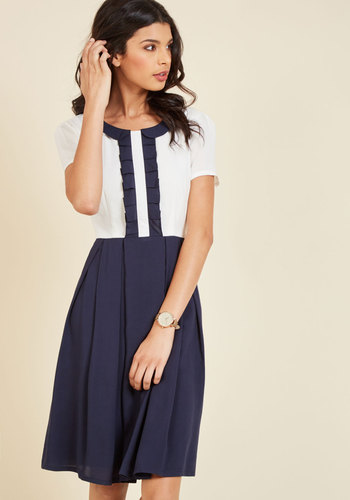 Opt for Splendor A-Line Dress in Navy Colorblock - Blue, Solid, Work, Casual, Boho, Americana, A-line, Short Sleeves, Fall, Winter, Woven, Better, Exclusives, Long