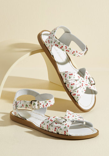 Vintage Style Sandals – 1930s, 1940s, 1950s, 1960s Sea Spritz Leather Sandal in Cherry $44.99 AT vintagedancer.com