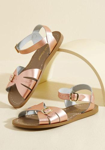 Vintage Style Sandals – 1930s, 1940s, 1950s, 1960s Sea Spritz Leather Sandal in Rose Gold $44.99 AT vintagedancer.com