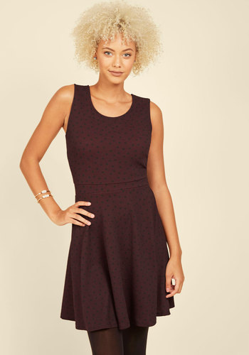 Twinkle in Time A-Line Dress in Burgundy - Mid-length, Knit, Red, Black, Polka Dots, Work, Casual, A-line, Sleeveless, Fall, Scoop