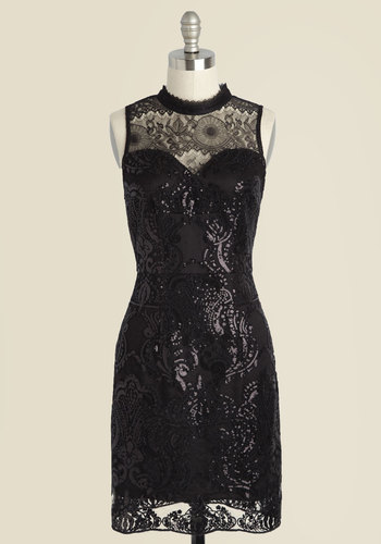 A Laud on My Mind Sequin Dress - Mid-length, Black, Lace, Sequins, Special Occasion, Party, Cocktail, Homecoming, Luxe, Sleeveless, Mockneck, Lace, 20s, Sheer