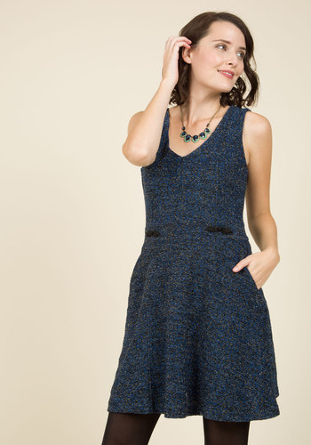 Publicized Panache A-Line Dress by ModCloth - Black, Solid, Work, Daytime Party, A-line, Sleeveless, Fall, Winter, Best, Exclusives, Private Label, ModCloth Label, Knit, Mid-length, Pockets
