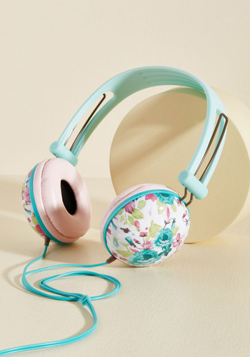 Swoons and Tunes Headphones in Teal Roses