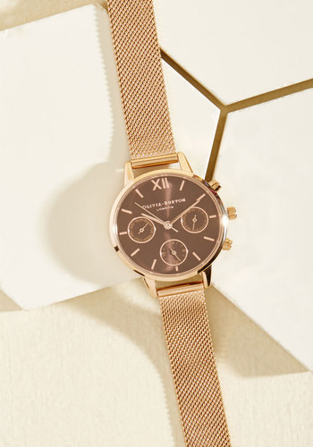 Wrist Opportunity Watch in Brown & Rose Gold - Midi by Olivia Burton - Luxe Gifts, Gold