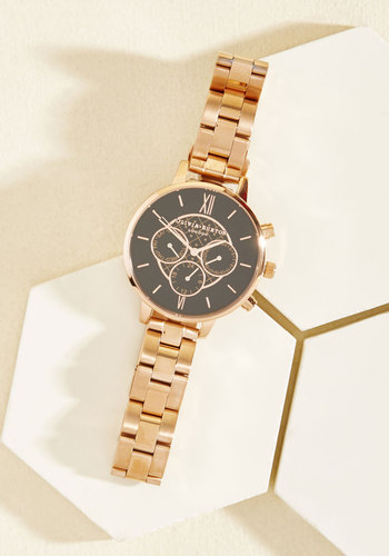 Wrist Opportunity Watch in Black & Rose Gold - Big by Olivia Burton - Black, Gold, Party, Work, Casual, Luxe, Winter, Exceptional