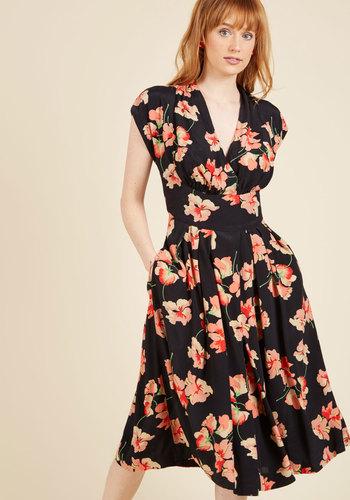 1960s Style Dresses- Retro Inspired Fashion Saunter Sweetly Midi Dress $149.99 AT vintagedancer.com