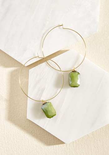 Keep Me in the Hoop Earrings by Lover's Tempo - Green, Gold, Party, Cocktail, Daytime Party, Winter, Gold, Better
