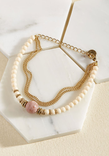 Excel Under Treasure Bracelet in Rhodonite by Lover's Tempo - Tan, Cream, Gold, Beads, Casual, Winter, Gold, Better, Beach/Resort, Store 1, Valentine's