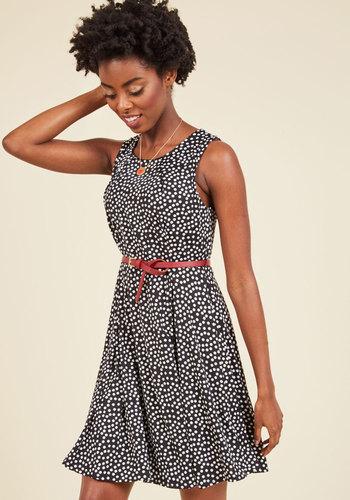Personal Project A-Line Dress - Multi, Black, Polka Dots, Print, Work, A-line, Sleeveless, Knit, Better, Short, Black, Pleats, Belted, Scoop
