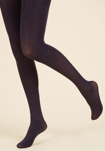 Train of Dot Tights - Blue, Red, Polka Dots, Print, Special Occasion