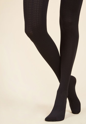 Cable for Discussion Tights in Black - Black, Solid, Knitted, Special Occasion, Party, Work, Casual, Fall, Winter, Good, Knit, Woven
