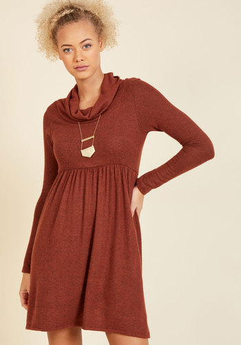 Honoring Hygge Sweater Dress in Rust - Red, Solid, Casual, A-line, Sweater Dress, Long Sleeve, Fall, Winter, Knit, Better, Exclusives, Private Label, Under 100 Gifts, Cozy2015, Mid-length