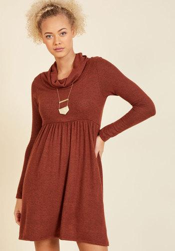 Honoring Hygge Sweater Dress in Rust