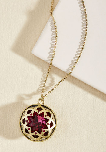 It Was an Honest Mystique Necklace in Magenta - Red, Gold, Party, Cocktail, Vintage Inspired, Winter, Gold, Good
