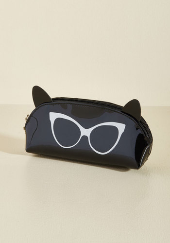 I Can See Ear-ly Now Pouch in Black by PERVERSE sunglasses - Black, Casual, Kawaii, Quirky, Cats, Winter, Good, Beach/Resort
