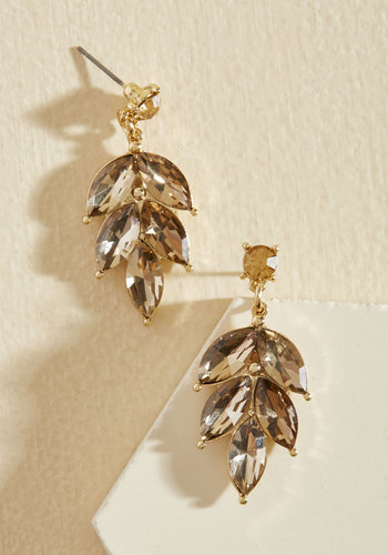 Editor in Leaf Earrings in Champagne - Gold, Rhinestones, Special Occasion, Wedding, Party, Gold, Sparkly2015, Holiday Party, Metallic, Under 50 Gifts, Under 25 Gifts, Unique Gifts