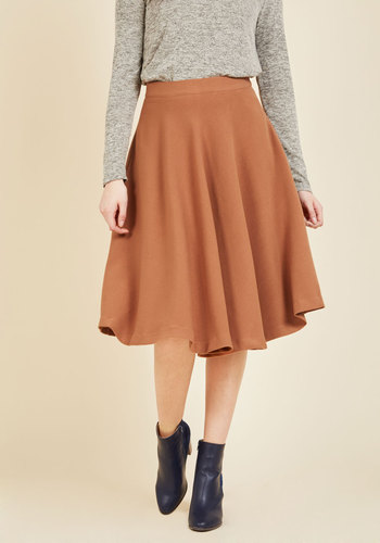 Field Notable Midi Skirt by Pink Martini - Woven, Tan, Solid, Pockets, Work, Minimal, Basic, Brown, Fall, Full, Long, Vintage Inspired