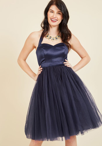 Elegant and Allegro Tulle Dress - Blue, Solid, Special Occasion, Prom, Cocktail, Holiday Party, Graduation, Homecoming, Wedding Guest, Vintage Inspired, 80s, Luxe, Statement, A-line, Ballerina / Tutu, Twofer, Spaghetti Straps, Fall, Winter, Woven, Tulle, Best, Exclusives, Mid-length