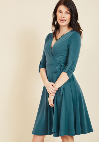 Say Yes to Timeless Wrap Dress in Peacock
