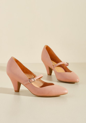 Retro & Vintage Style Shoes Reserved for Rollicking Heel in Rose $69.99 AT vintagedancer.com