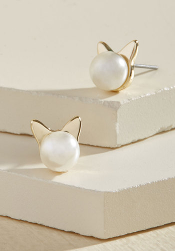 Smiles Purr Hour Earrings - Gold, Pearls, Casual, Cats, Critters, Good, Holiday Party, Critter Gifts, Under 50 Gifts, Under 25 Gifts, Best Seller, Best Seller, Gifts2015