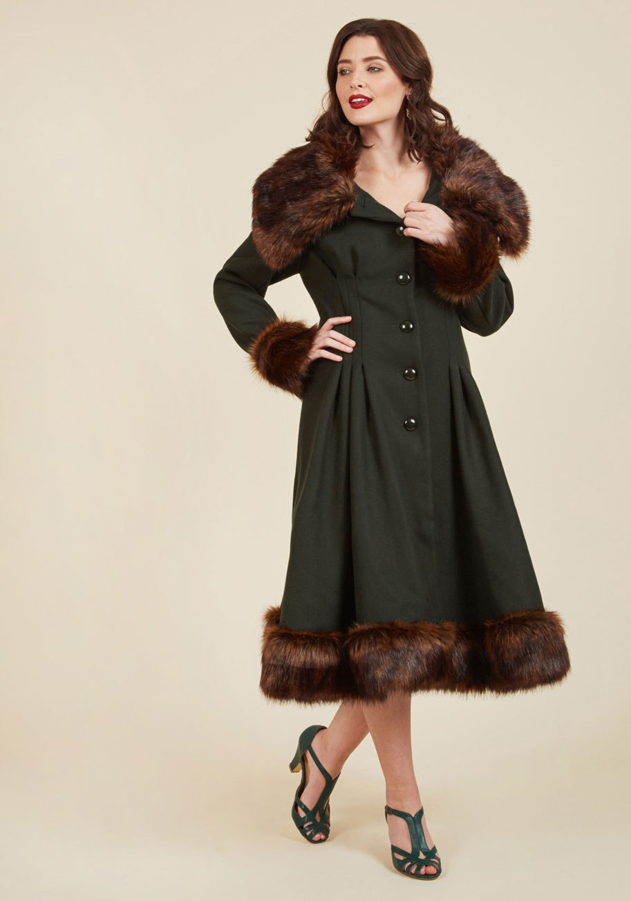 Retro Vintage Style Coats, Jackets, Fur Stoles Luxe-y in Love Coat in Pine $269.99 AT vintagedancer.com