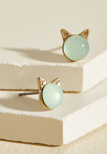 Party Over Ear Earrings - Party, Cats, Summer, Gold, Good, Mint, Quirky, Critter Gifts, Under 50 Gifts, Under 25 Gifts, Tis the Season Sale, Best Seller, Best Seller, Gifts2015