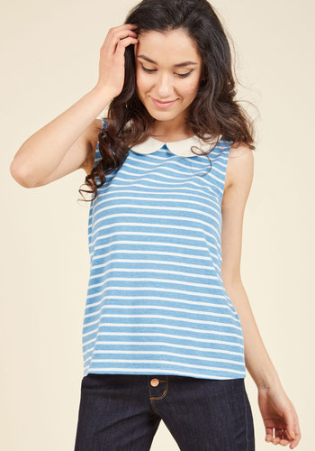 Vintage & Retro Shirts, Halter Tops, Blouses and more Everyday Fave Tank Top in Blue $34.99 AT vintagedancer.com