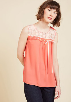 Natural Sweetener Sleeveless Top in Coral