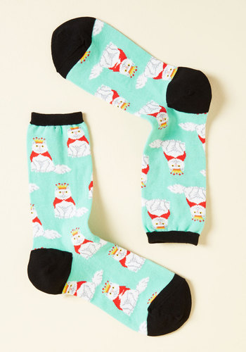 Your Meow-Jesty Socks - Green, Print, Lounge, Quirky, Cats, Critters, Red, Black, Print with Animals, Spring, Summer, Fall, Winter, Good, Crew