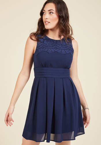 V.I.Pleased A-Line Dress in Navy - Blue, Solid, Pleats, A-line, Sleeveless, Variation, Embroidery, Vintage Inspired, Top Rated, Mid-length, Daytime Party, Fit & Flare, Work, Homecoming, Lace, Lace