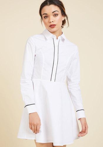 Promising Polish Shirt Dress - White, Solid, Work, Casual, Americana, A-line, Shirt Dress, Long Sleeve, Spring, Summer, Fall, Winter, Woven, Better, Short