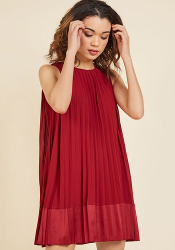 Pleat and Greet Shift Dress in Burgundy - Solid, Work, Casual, Americana, Shift, Sleeveless, Spring, Summer, Fall, Winter, Woven, Better, Short, Valentine's, Red, Girls Night Out