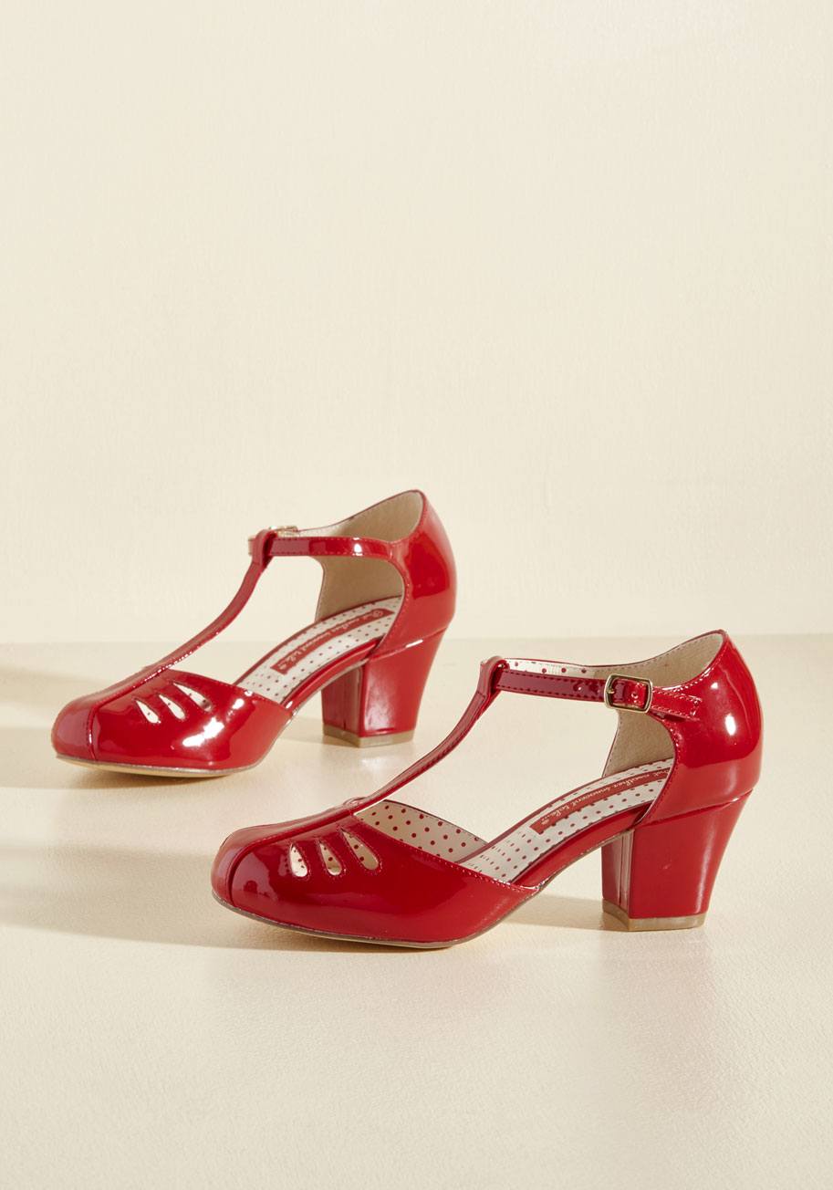 Retro & Vintage Style Shoes Shimmer Down Now Heel in Cherry Gloss $68.99 AT vintagedancer.com