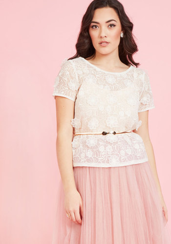 Ever Graceful Entrance Floral Top - Woven, Mid-length, White, Ivory, Solid, Bride, Short Sleeves, Sheer, Exceptional, Crew, Valentine's