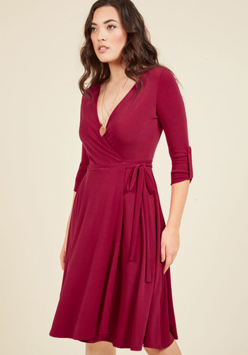 Say Yes to Timeless Wrap Dress in Maroon