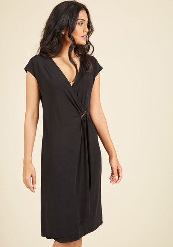 Have a Good Clasp on Things Dress - Black, Solid, Casual, LBD, Shift, Cap Sleeves, Spring, Summer, Fall, Winter, Knit, Better, Long, Girls Night Out
