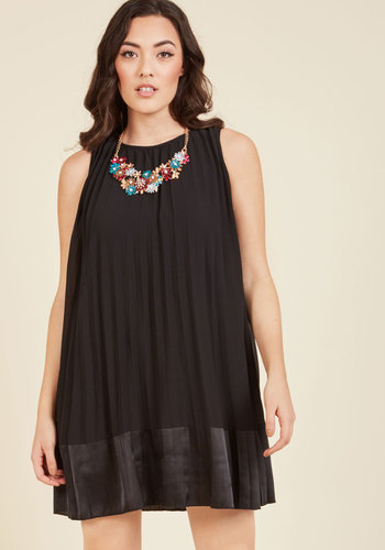 Pleat and Greet Shift Dress in Noir - Black, Solid, Work, Casual, Daytime Party, LBD, Shift, Sleeveless, Spring, Summer, Fall, Winter, Woven, Better, Mid-length, Girls Night Out
